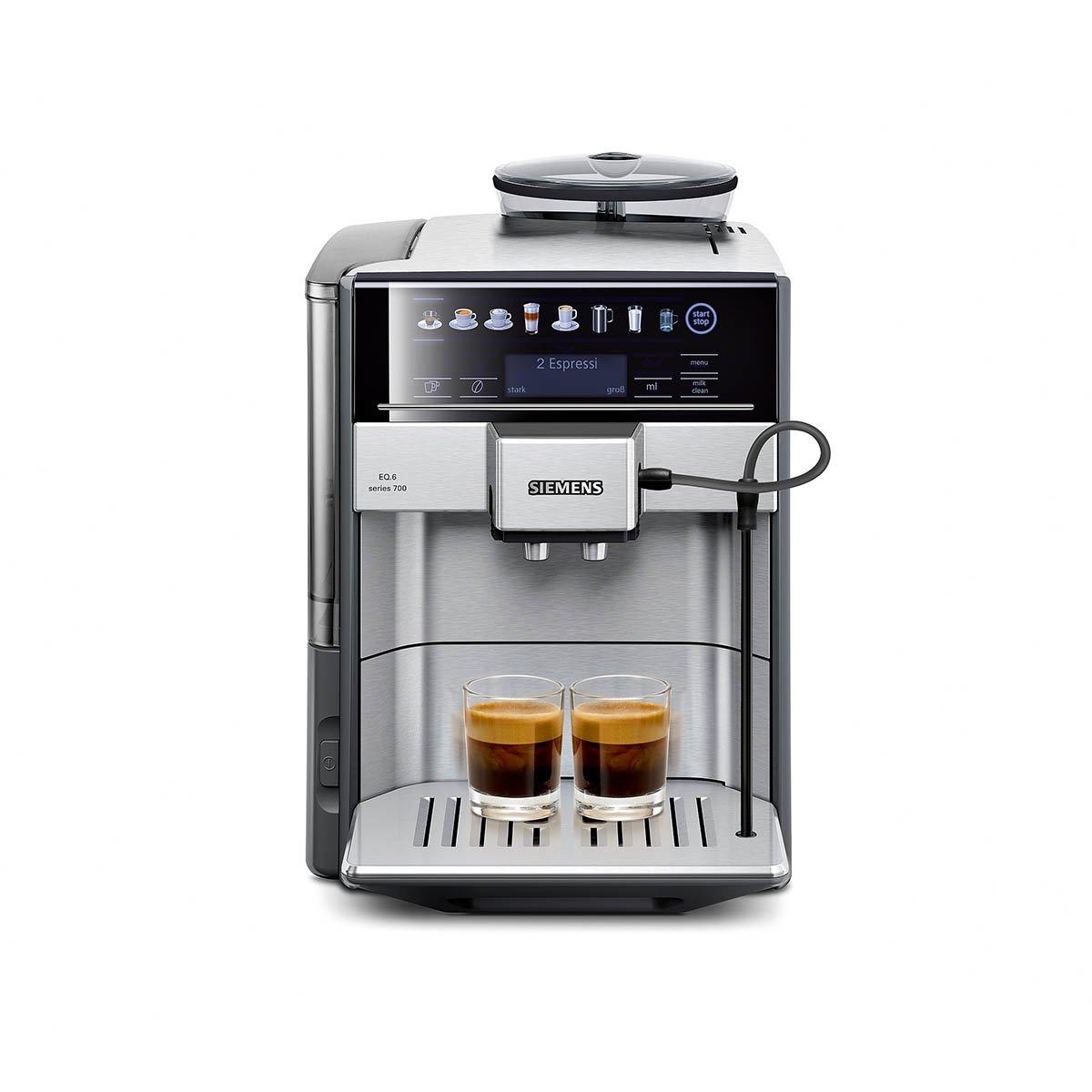 Siemens TE617503DE macchina per caffè automatica EQ.6700, scelta diretta tramite il display con sensore, oneTouch DoupleCup, sensore di livello elettronico, in acciaio inox e colore grigio