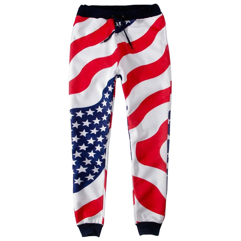 Little Great Women's Fashion Flag Print Jogging Pants SweatPants
