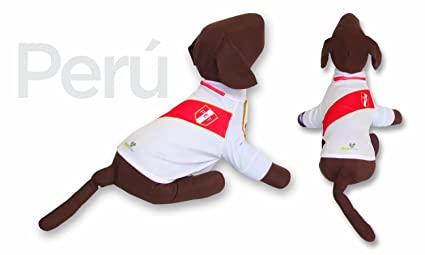 Peru DOG T-Shirt Worldcup Shirt camisetas para perros selecciones futbol soccer (L)