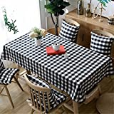 HOMEE European simple black and white plaid tablecloth table rectangular modern cotton home furnishing dust cloth Christmas decorations,90X150cm