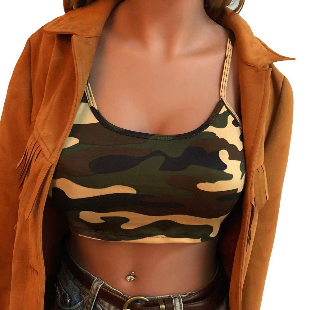 iLUGU Women Camouflage Sleeveless Tanks Top Bustier Strapless Cami Bra Vest Crop T Shirt Blouse