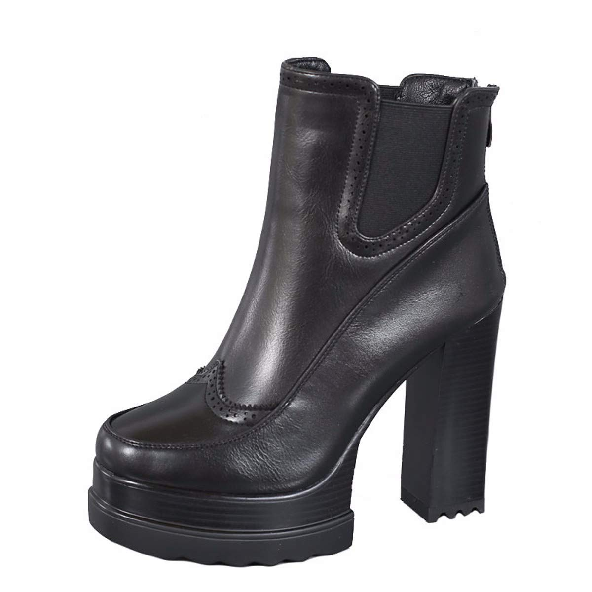 noir Thirty-six HBDLH Chaussures pour Femmes Peu De Bottes Haut 12Cm Dur Imperméable Noir Wild Mahomme Dingxue