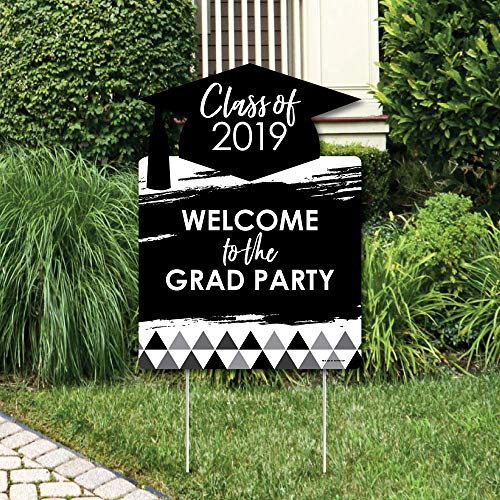 Big Dot of Happiness Black & White Grad - Best is Yet to Come - Party Decorations - Black and White 2019 Graduation Party Welcome Yard Sign]()