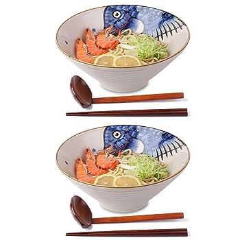 NJCharms Blue Ceramic Japanese Ramen Bowl