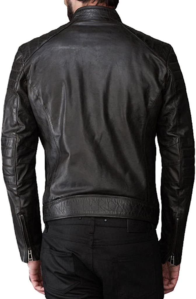 Kingdom Leather Mens Cowhide Thick Leather Jacket Black KC140