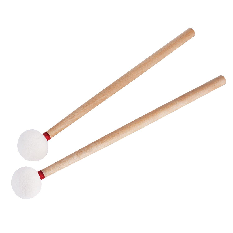 Canomo 2 Pack Timpani Mallets Felt Head Drum Sticks with Wood Handle, 14.5 Inch