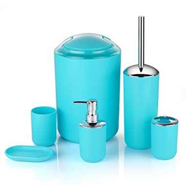 6 Pcs Plastic Bathroom Accessory Set Luxury Bath Accessories Bath Set Lotion Bottles, Toothbrush Holder, Tooth Mug, Soap Dish, Toilet Brush, Trash Can, Rubbish Bin (Blue)