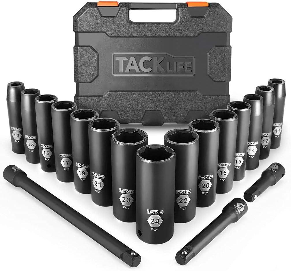 """Tacklife 1/2"""" 18-Piece Drive Deep Impact Socket Set  $22.98 Coupon"""