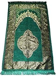 Islamic Prayer Mat Turkish Ottoman Sajadah Thin Prayer Rug Muslim Gift Eid Ramadan Namaz Carpet - Green