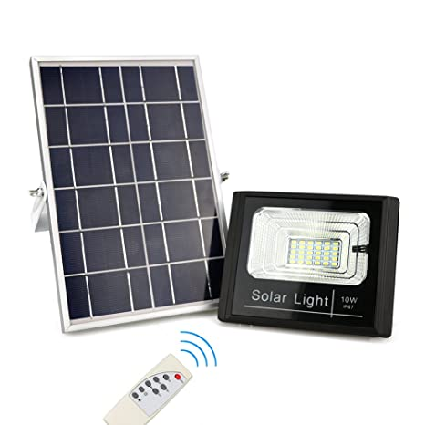 Solar Powered Flood Lights Outdoor, Remote Control Solar Light IP67  Waterproof, Dusk To Dawn