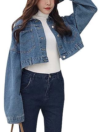 Damen Casual Cropped Kurze Jeansjacke Fallende Ärmel Denim Mantel Dunkel  blau One Size 909df99052