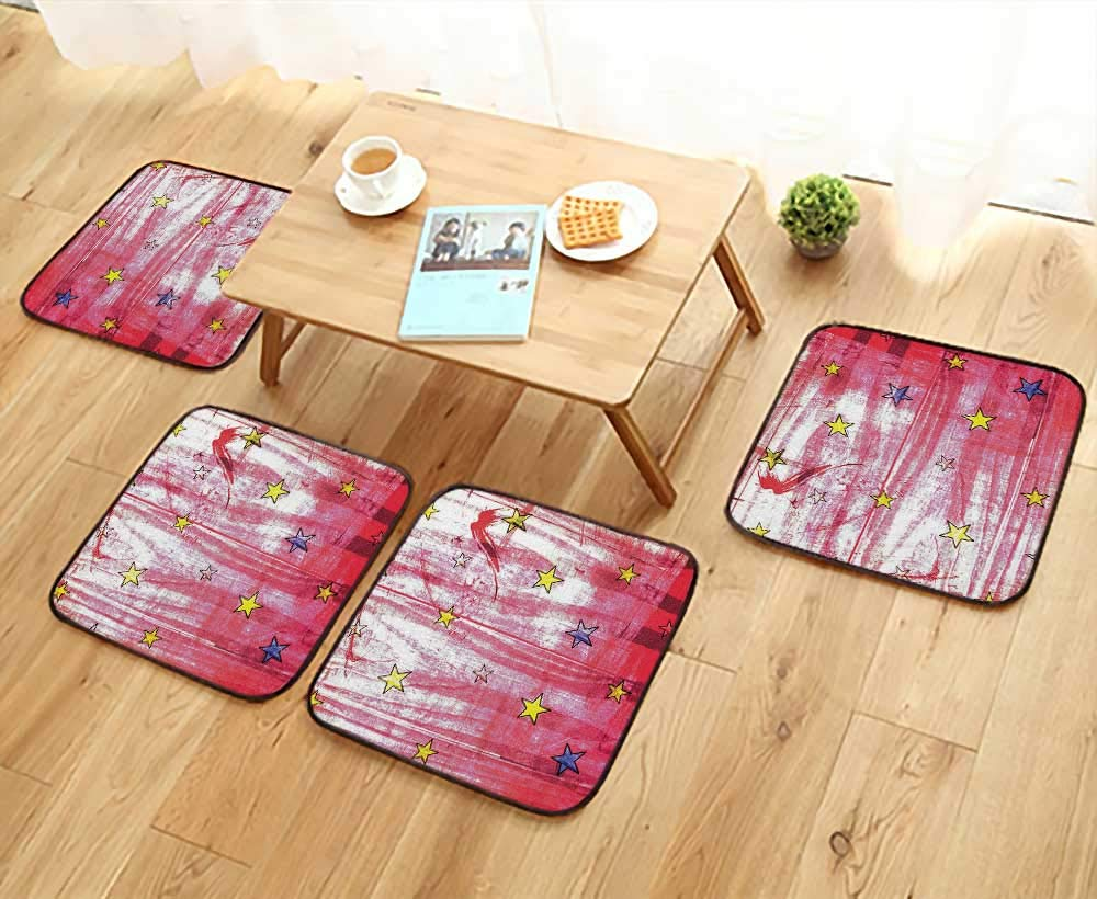 Leighhome Anti-Skid Chair Cushions Little Luminous Stars Over Grunge Retro Style Background Solar Celestial Theme Art Red Health is Convenient W19.5 x L19.5/4PCS Set