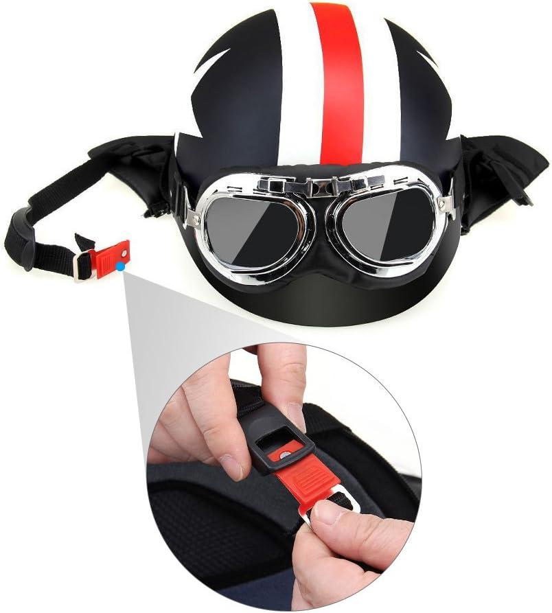 Halboffener Motorradhelm mit Schutzbrille Visierschal Biker Scooter Touring Helm