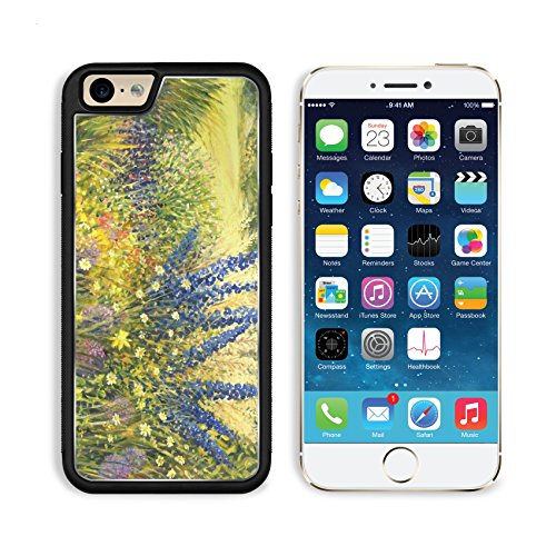 Apple iPhone 6 6S Aluminum Case Vibrant wild flowers with beautiful blue Delphiniums in a bright sunny day painted IMAGE 16859890 by MSD Customized Premium Deluxe Pu Leather generation Accessories HD