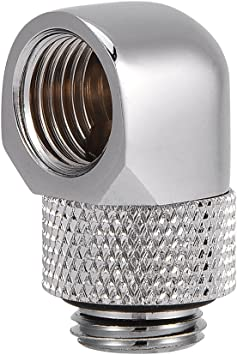 Silver Atfipan Water Cooling 90 Degree Angle G1//4 Thread Nozzle Rotary Fitting Matt Black//Silver