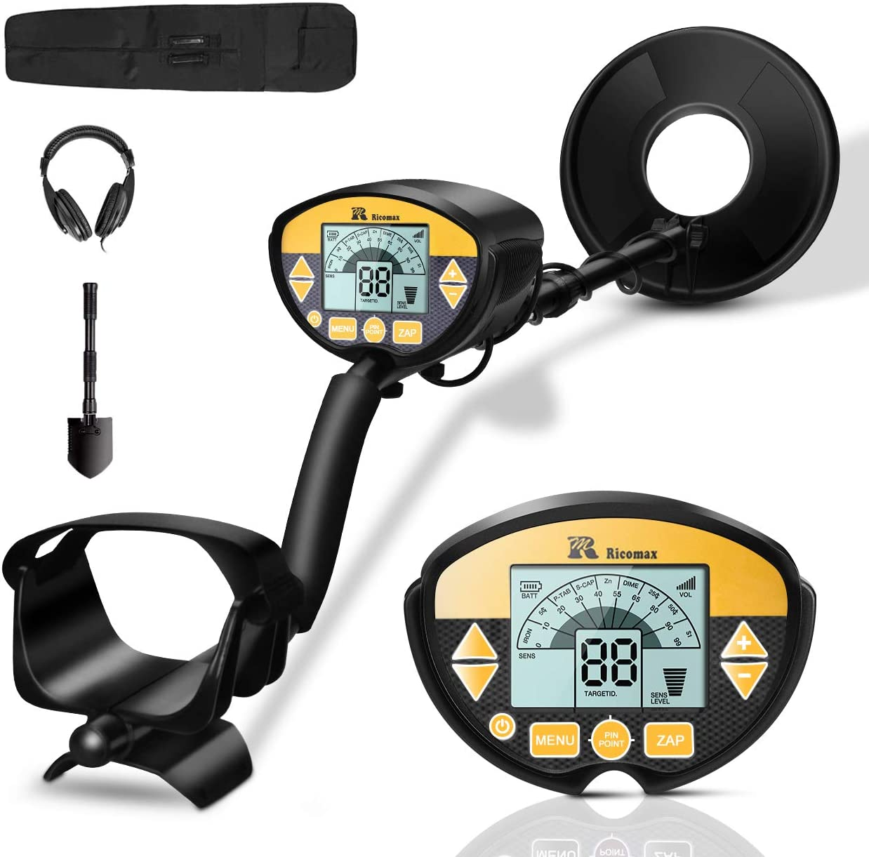 RM RICOMAX Metal Detector – Professional Waterproof with High-Accuracy Metal Detector for Adults Kids, 9-Inches Detection Depth Portable Gold Detector with LCD Display Headphone Available