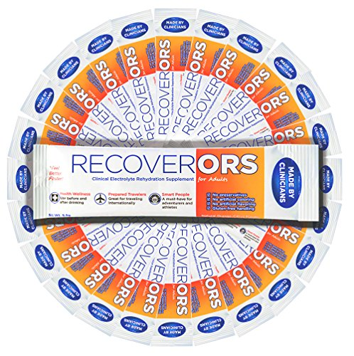 (RecoverORS Clinical Electrolytes | Hydration for Hangover, Diarrhea, Vomiting, Diarrhea for Adults | Oral Rehydration Solution ORS)