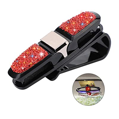 Glasses Holder for Car Visor,Fashion Bling Crystal Rhinestones Car Sun Visor Glasses with Double-Ended Ticket Clip Holder Accessories (Red): Automotive