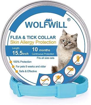 Comprar WOLFWILL Collar de Pulgas y Garrapatas para Gato,Acción Prolongada 10 Meses de Protección y Prevención contra Pulgas Garrapatas,Piojos,Talla Única para Todos,Ajustable, Impermeable