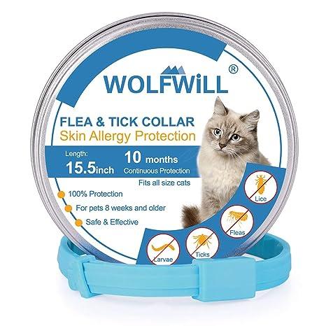 WOLFWILL Collar de Pulgas y Garrapatas para Gato,Acción Prolongada 10 Meses de Protección y Prevención contra Pulgas Garrapatas,Piojos,Talla Única ...