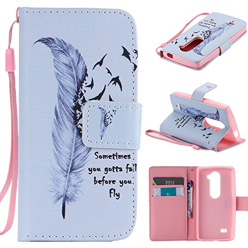 LG Escape 2 Case, LG Logos Case, LG Spirit LTE Case, Harryshell(TM) Feather Wallet Folio Leather Flip Case Cover with Card Slot and Wrist Strap for LG Escape 2 H443 / LG Logos / LG Spirit C70