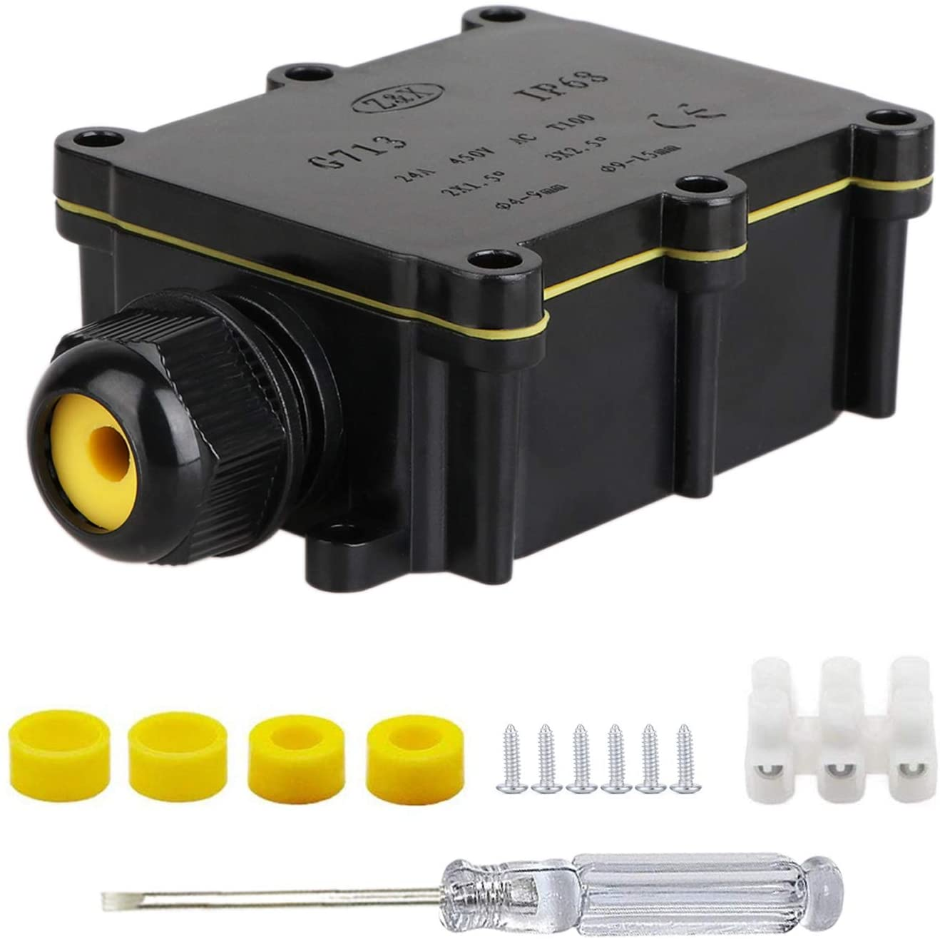 IP68 Waterproof Junction Box 2-Way Outdoor Cable Connectors with 2 Cable M20 Gland Wire Connector Electrical Junction Box for 4-11MM Diameter Cable Black