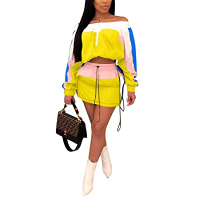 Alunzoem Womens Color Block 2 Piece Skirt Tracksuit Off Shoulder Tops and Mini Skirt Outfit Yellow XL: Clothing