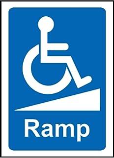 Silla de ruedas rampa Pegatina de aviso Signo con discapacidad señal – vinilo autoadhesivo 200 mm