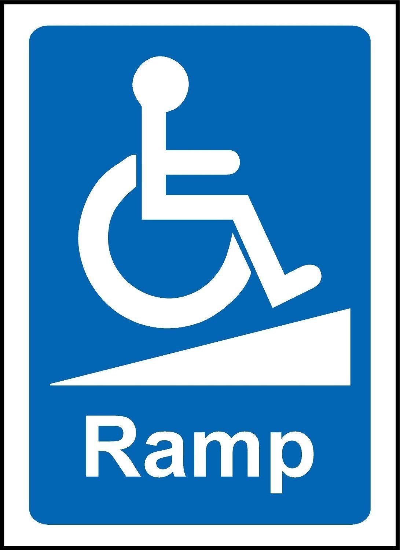 Silla de ruedas rampa Pegatina de aviso Signo con discapacidad señal - vinilo autoadhesivo 200 mm x 150 mm: Amazon.es: Amazon.es