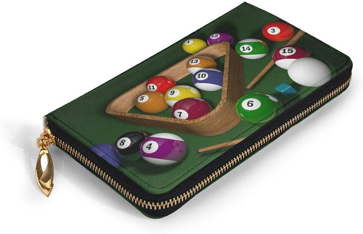 Billiards Wallets For Men Women Long Leather Checkbook Card Holder Purse Zipper Buckle Elegant Clutch Ladies Coin Purse