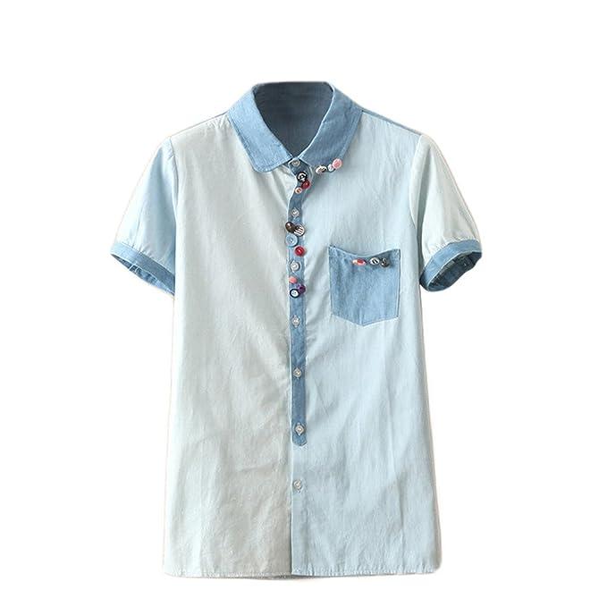 Vaquera diseño de botones para mujer Dantiya de manga corta para blusa de costura para confeccionar