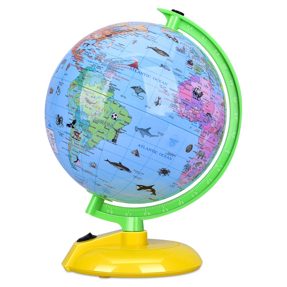 Illuminated World Globe for Kids, 8'' Desktop Globe LED Night Light with Stand, Colorful, Easy-Read, Battery Operation, Globe Map Learning Tool Educational Gift for Student