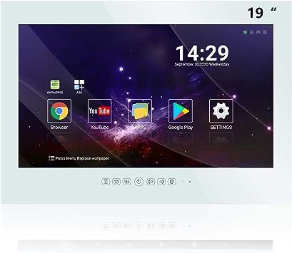 Haocrown Smart TV LED para baño IP66 Impermeable Sistema Android Televisión con Pantalla táctil y Wi-Fi Incorporado (19 Pulgadas, Blanco)