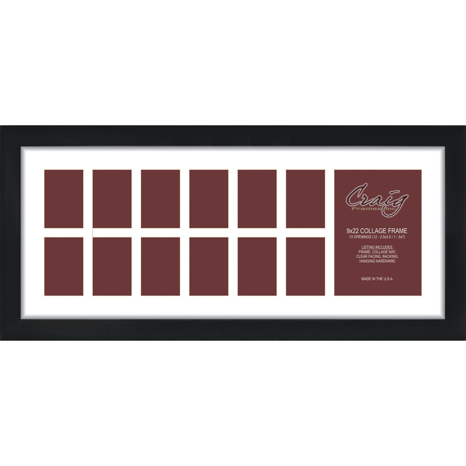 Craig Frames 1WB3BK 9 by 22-Inch Black Picture Frame, Single White Collage Mat with 13 Openings