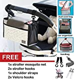 Stroller Organizer Bag Lightweight Universal Design Multifunctional Portable Sized Tote Dual-Used Bag with Mosquito Net and 2 Stroller Hook
