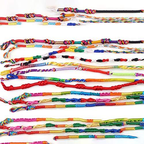UPDD 100 Pcs Dazzling Handmade Braided Bracelets Collection, Braid Strands Friendship Cords Handmade Bracelets for Wrist Anklet