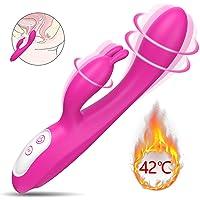 Nabini G-Punkt Vibratoren für sie,Heizung Rabbit Vibrator für sie Klitoris und G-Punkt Stimulation,Wasserdichte Dual Motor Klitoris Vibratoren mit 9 Modi,Silikon Sexspielzeug für Frauen und Paare