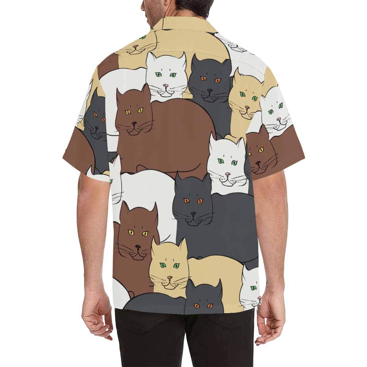 InterestPrint Mens Shirt British Cats Summer Casual Mens Shirt