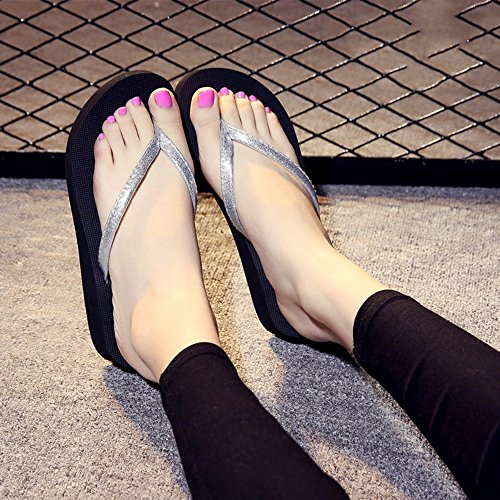 FEI Mules Female Summer Non-slip Slippers For Ooutdoor(Pink, Black, Blue, Gold, Silver) Sandals Casual (Color : Gold, Size : 38) Silver