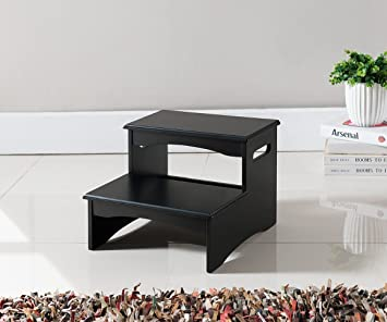 Nice Kings Brand Furniture Black Finish Wood Bedroom Step Stool