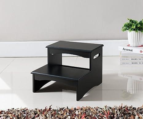 Bon Kings Brand Furniture Black Finish Wood Bedroom Step Stool