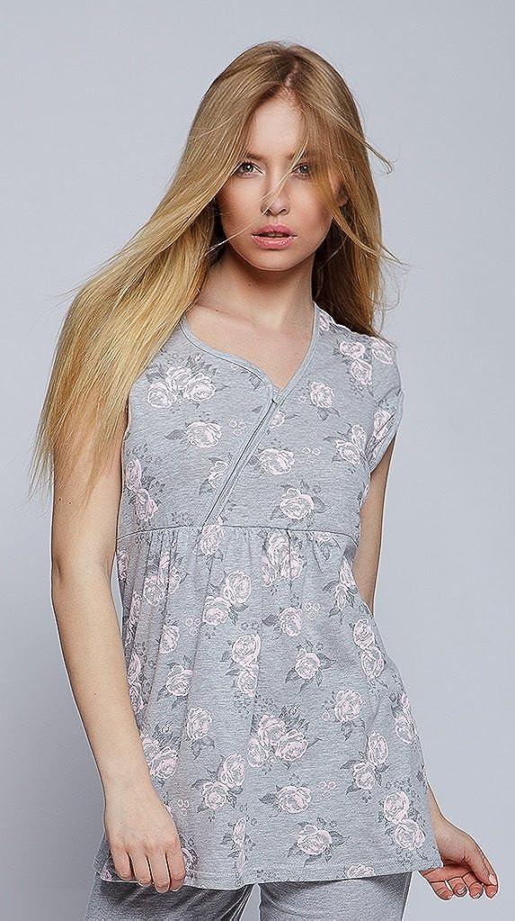 Gr grau//rosa M SENSIS Traumhafter Stillschlafanzug//Umstandspyjama mit praktischem Rei/ßverschlu/ß zum Stillen aus 100/% Baumwolle