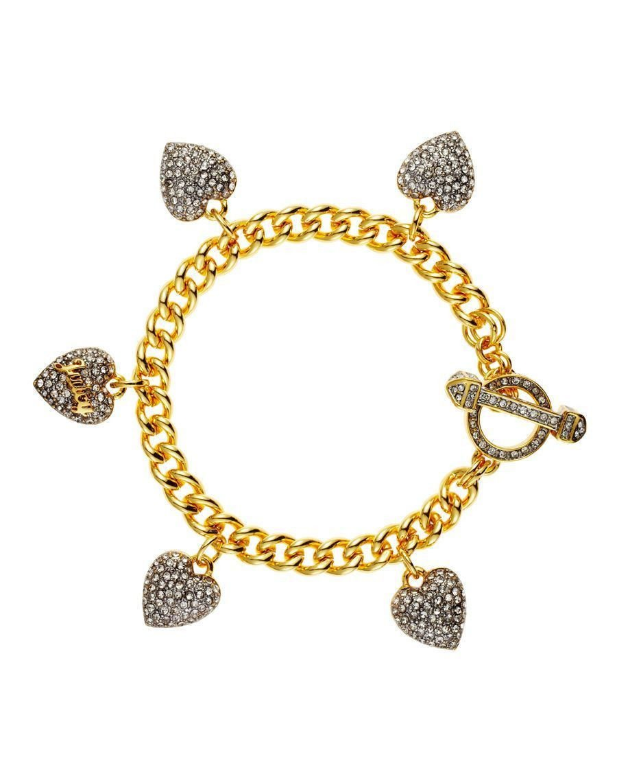 Juicy Couture Crystal Multiple Heart Charm Bracelet (Gold)