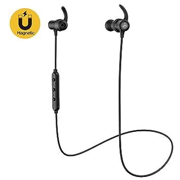 Mpow S6 Auriculares Bluetooth, auriculares inalámbricos magnéticos, [aptX Stereo] Auriculares deportivos in-ear, IPX 6 auriculares a prueba de sudor con ...