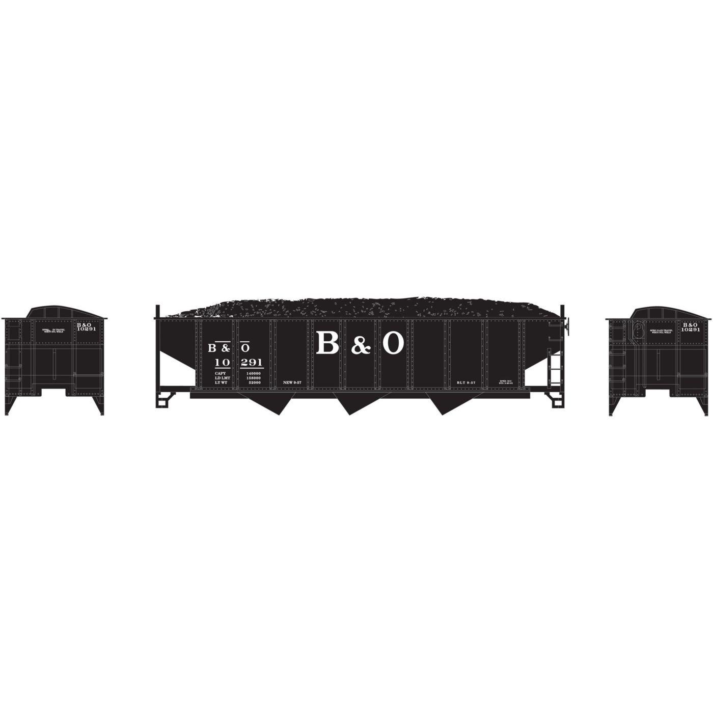 Athearn N 40 ' 3-bay Ribbed Hopper w / Load, B & O # 10291 B076887YQW