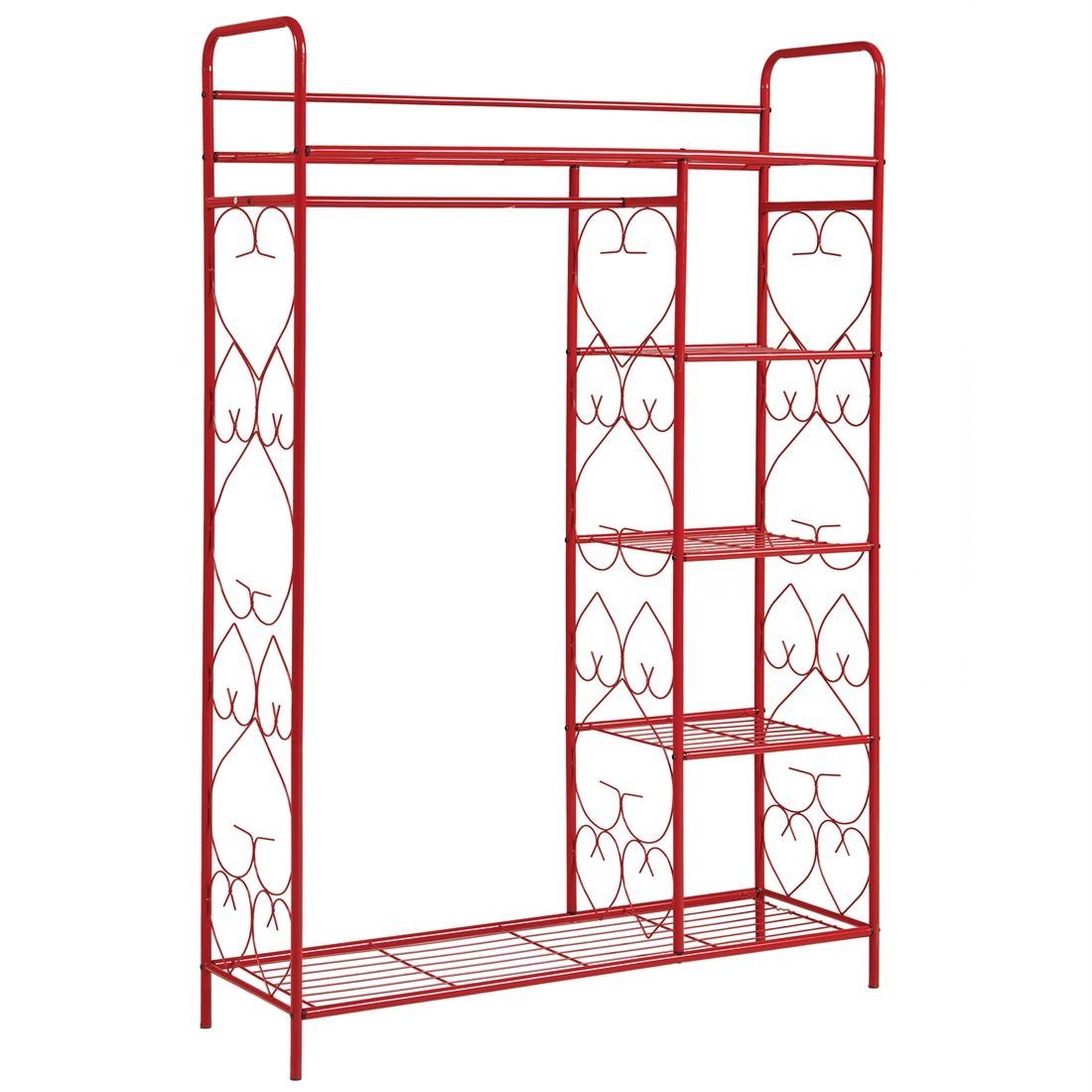 BrylaneHome 5-Tier Metal Closet With Hanging Rod (Black,0)