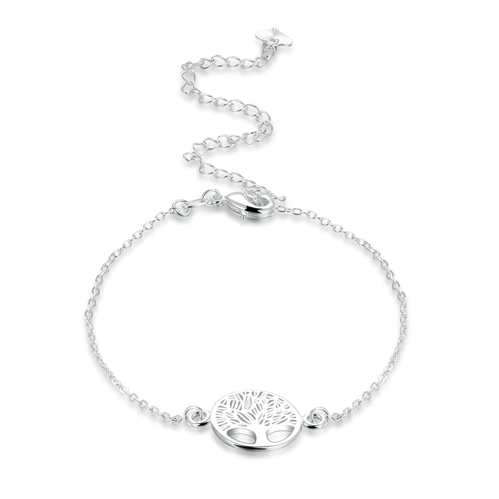 Adisaer Silver Plated Anklet Bracelet 20+10CM Rolo Chain Tree of Life Pendant Women Beach Foot Jewelry