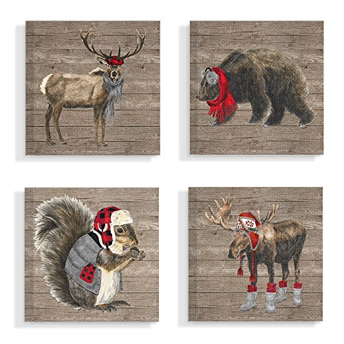 "The Stupell Home Decor Collection"" Wilderness Cold Stylish Animals in Buffalo Plaid Stretched Canvas Wall Art, 7x17, Multicolor made in New England"