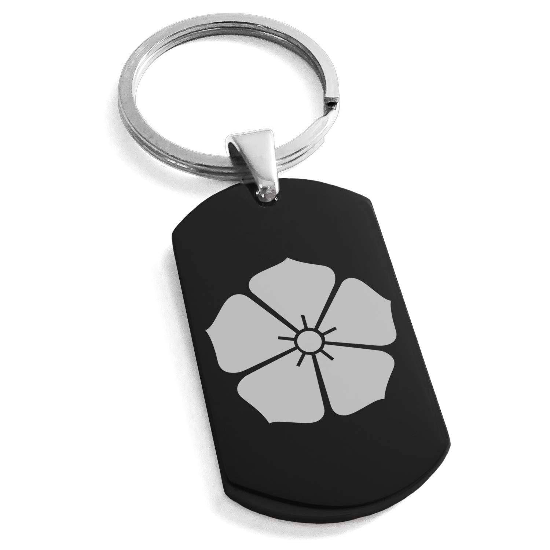 Tioneer Black Stainless Steel Akechi Samurai Crest Symbol Engraved Dog Tag Keychain Keyring