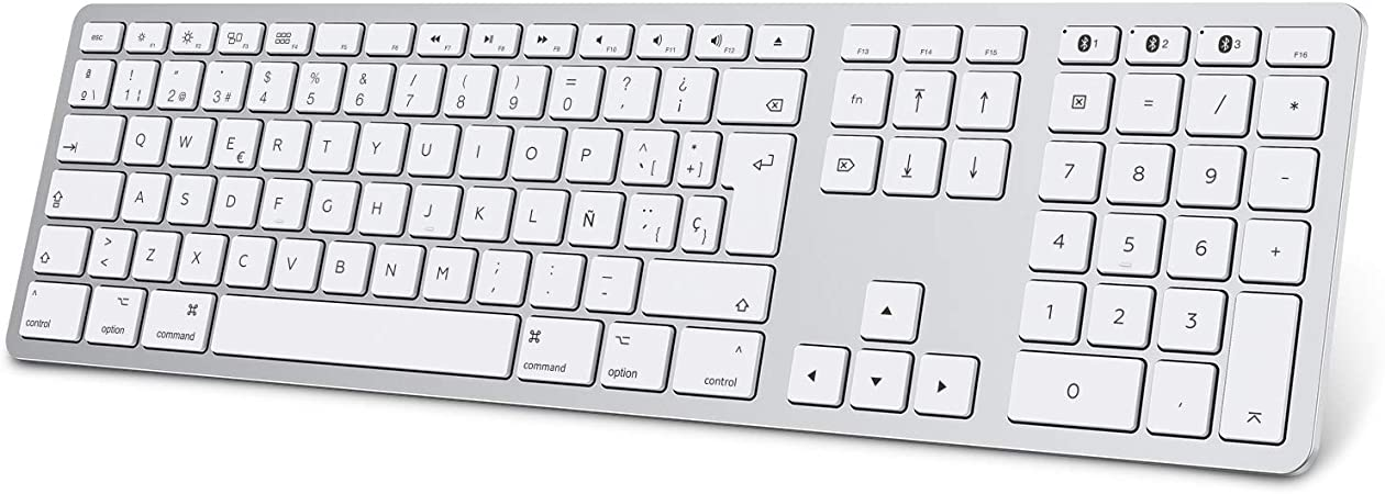 Teclado Inalambrico para MAC OS (Macbook, Mac Mini, iMac, Mac Pro), Teclado Recargable, Teclado Bluetooth para MAC OS, OMOTON, 3 Bluetooths,